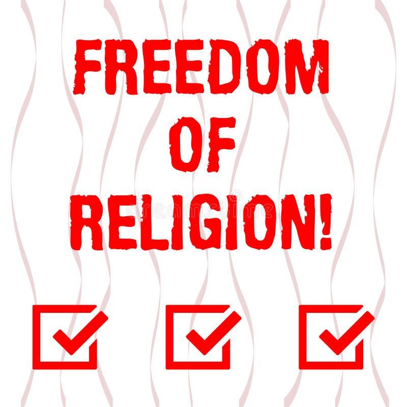 手写文本宗教信仰自由 概念意思权利奉行任何宗教一选择弯曲的垂直 皇族释放例证