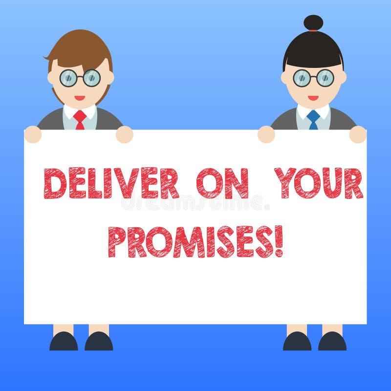 手写文本实现您的承诺 概念意思做什么您许诺了承诺发行男性和女性 皇族释放例证