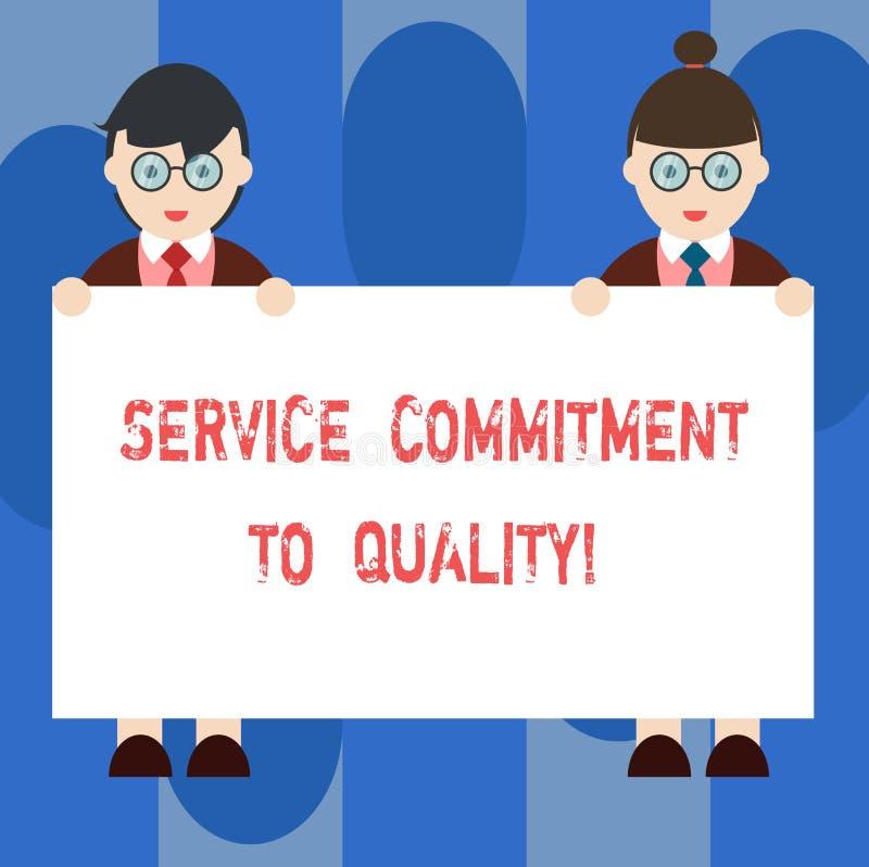 手写文本对质量的服务承诺 概念意思优秀优质好协助男性和女性 库存例证