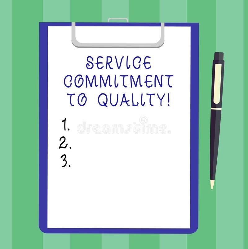 手写文本对质量的服务承诺 概念意思优秀优质好协助空白纸  向量例证