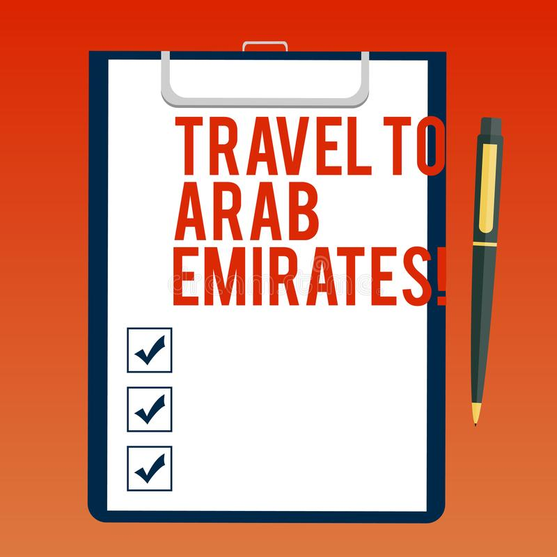 手写文本对阿拉伯酋长管辖区的文字旅行 概念意思有一次旅行到中东知道其他文化空白纸 皇族释放例证