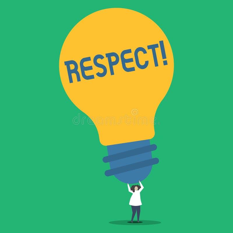 手写文本尊敬 概念深刻的倾慕的意思感觉对某人或某事的欣赏人 库存例证