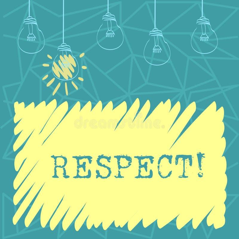 手写文本尊敬 概念深刻的倾慕的意思感觉对某人或某事的欣赏设置了  向量例证
