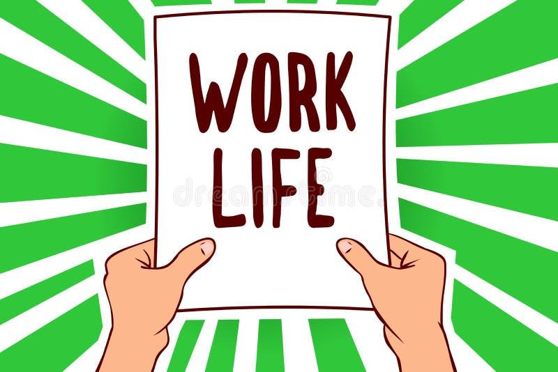 手写文本工作生活 意味每天任务的概念对ern金钱承受拿着纸进口的你的自已人的需要 向量例证