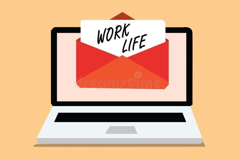 手写文本工作生活 意味每天任务的概念对ern金钱承受需要的一个\ 's收到电子邮件的自已计算机 库存例证