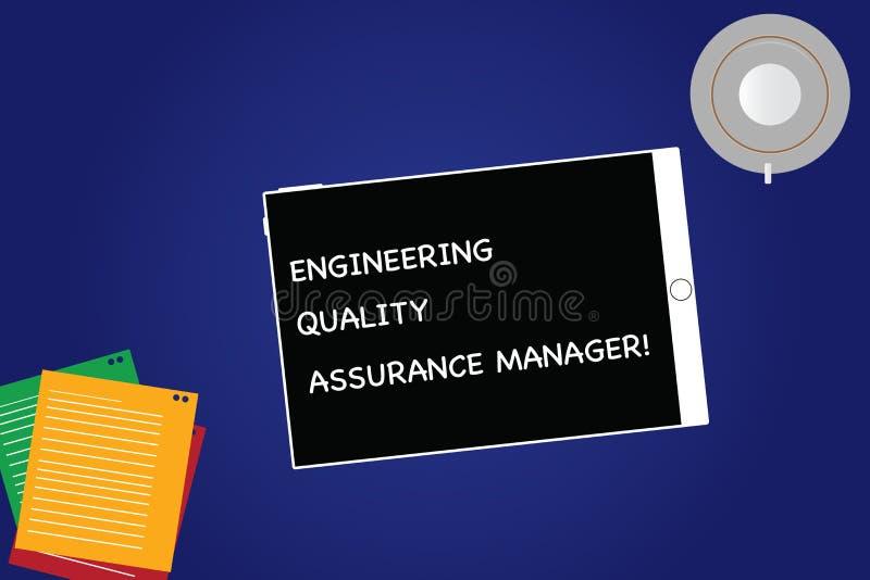 手写文本工程学质量管理经理 概念意思评估空产量控制的片剂 库存例证