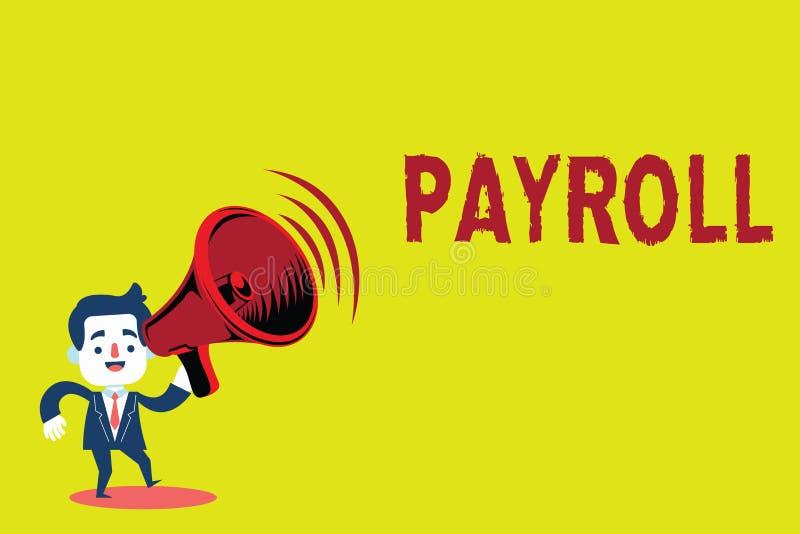 手写文本工资单 意味总金额公司的概念支付对雇员薪金付款 皇族释放例证