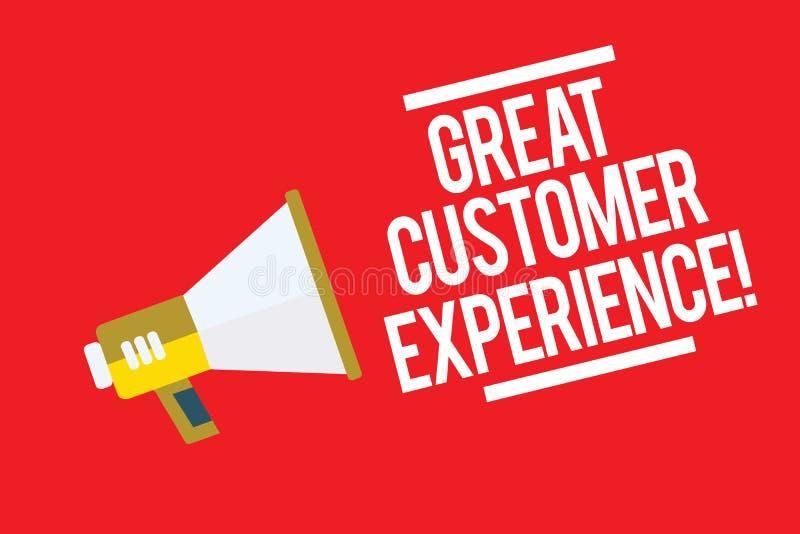 手写文本巨大顾客经验 反应有友好的有用的方式扩音机扩音器的客户的概念意思 向量例证
