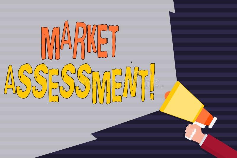 手写文本市场估价 概念市场的意思评估产品或服务手藏品的 皇族释放例证