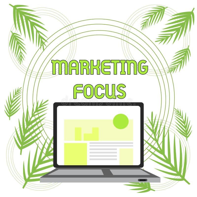 手写文本市场焦点 概念意思明白您的顾客的和他们的使用stats的需要打开现代 向量例证