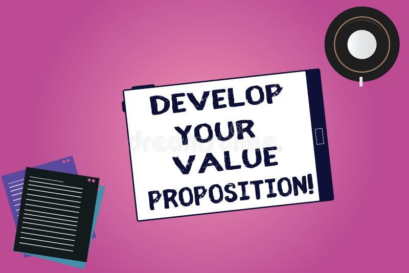 手写文本开发您的价值提议 概念意思准备营销策略销售摊点压片空 库存例证