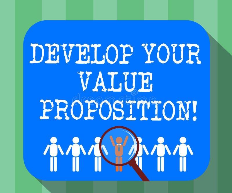 手写文本开发您的价值提议 概念意思准备营销策略销售摊点放大镜 向量例证