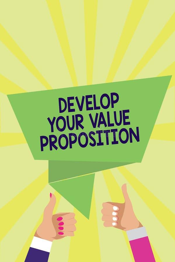 手写文本开发您的价值提议 概念意思准备销售方针销售摊点人妇女手赞许 库存例证