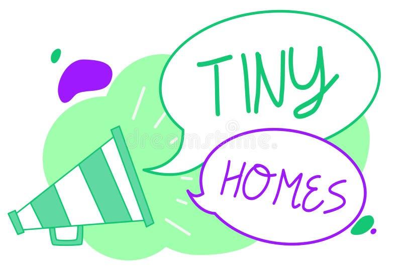 手写文本微小的家 概念意思房子包含一个室或两和小仅入口便宜的扩音机扩音器sp 皇族释放例证