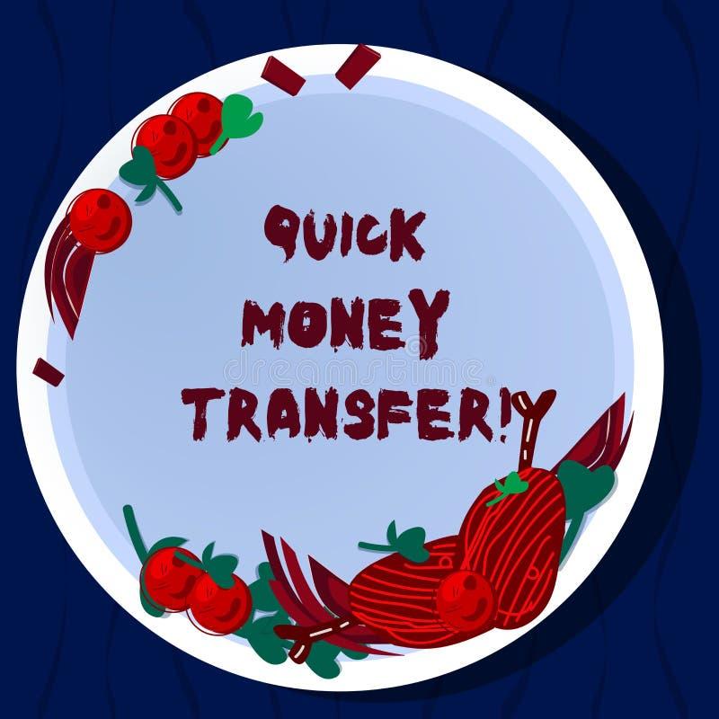 手写文本快的汇款 概念意思捷径移动金钱电子上或完全手拉 皇族释放例证
