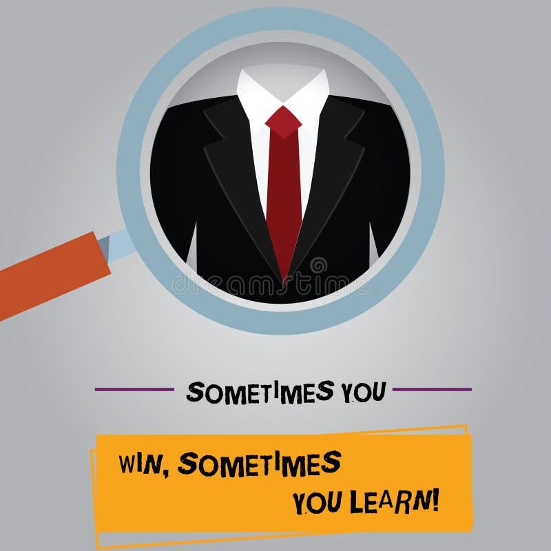 手写文本您有时赢得您有时学会 概念意思,如果不是优胜者获取了经验扩大化 向量例证