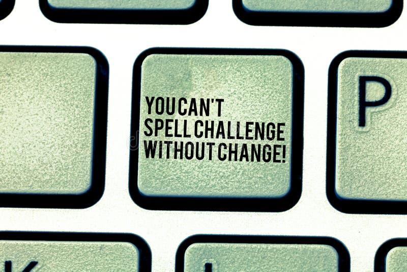 手写文本您能T拼写挑战,不用变动 概念意思做变动完成目标键盘键意图 库存照片