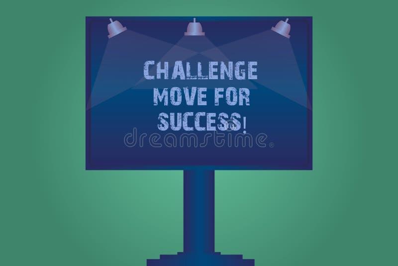 手写文本成功的挑战移动 成功空白的灯的概念意思专业运动战略 向量例证