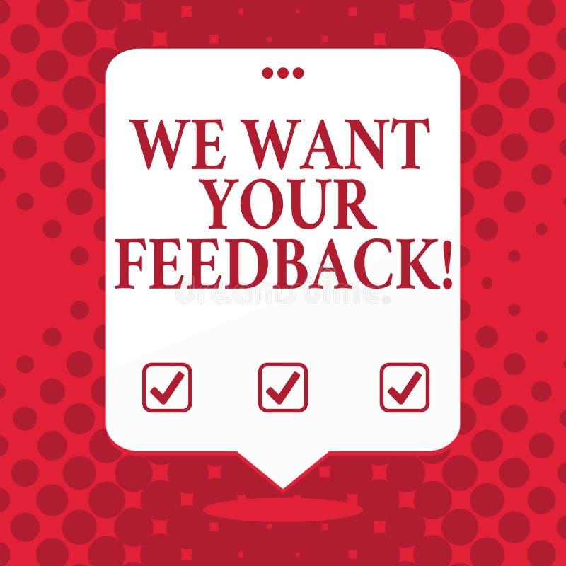 手写文本我们想要您的反馈 概念指定的意思批评某人说可以为改善空白做 库存例证