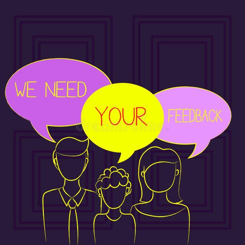 手写文本我们需要您的反馈 意味批评的概念指定说可以是做的改善家庭一个 库存例证