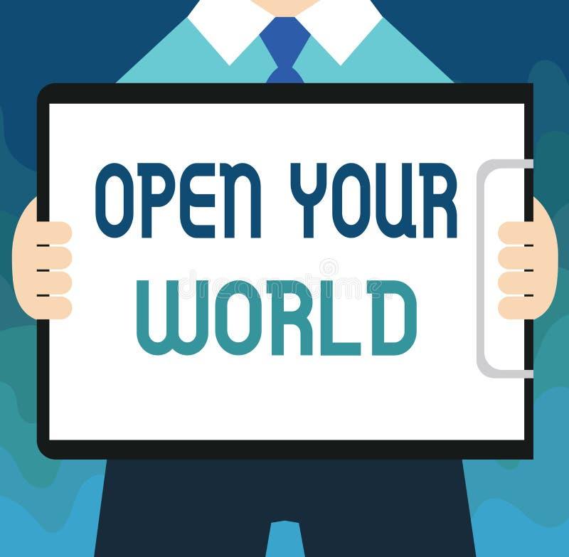 手写文本打开您的世界 概念意思扩展您的头脑和思路从所有否定性 向量例证