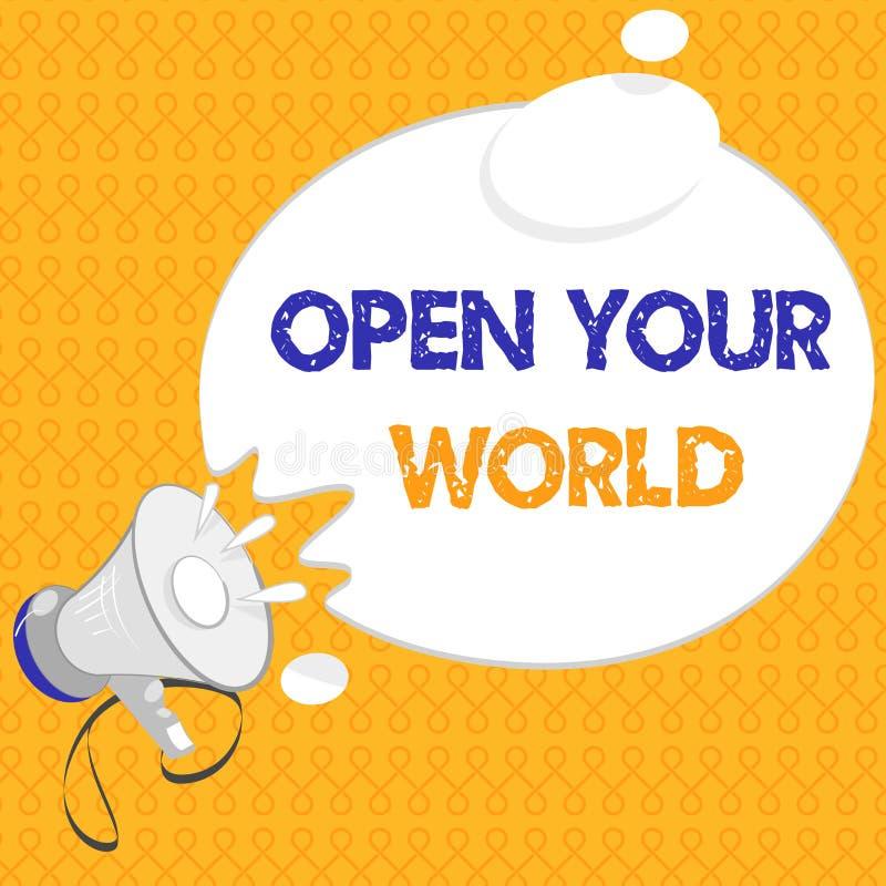 手写文本打开您的世界 概念意思扩展您的头脑和思路从所有否定性 皇族释放例证