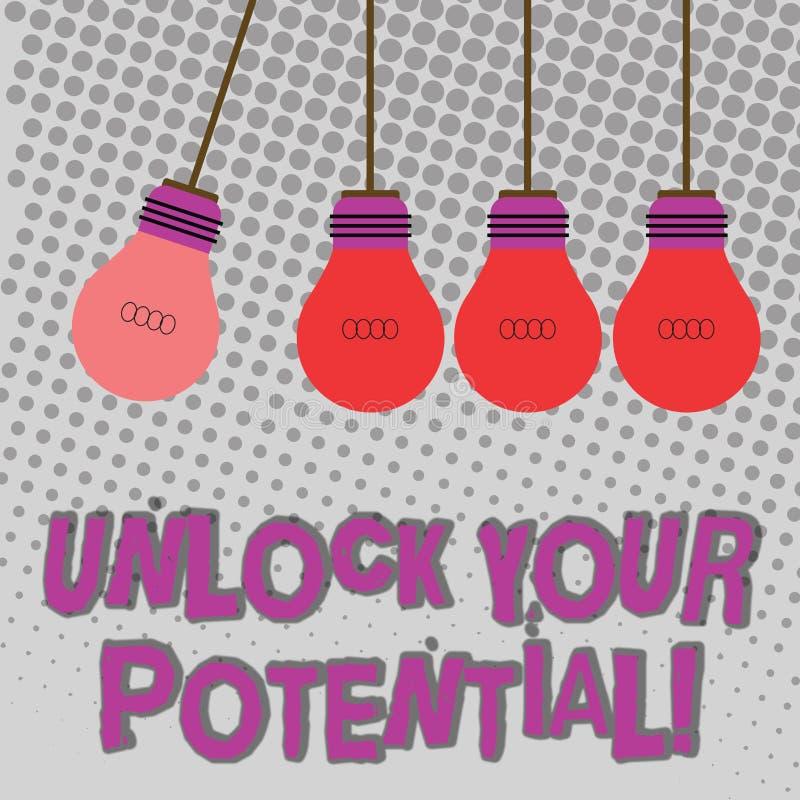 手写文本打开您的潜力 概念意思发行可能性教育和训练是基色 皇族释放例证