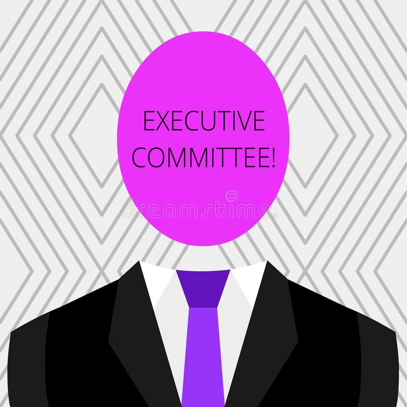 手写文本执行委员会 概念意思小组主任任命有当局在象征性的决定 库存例证