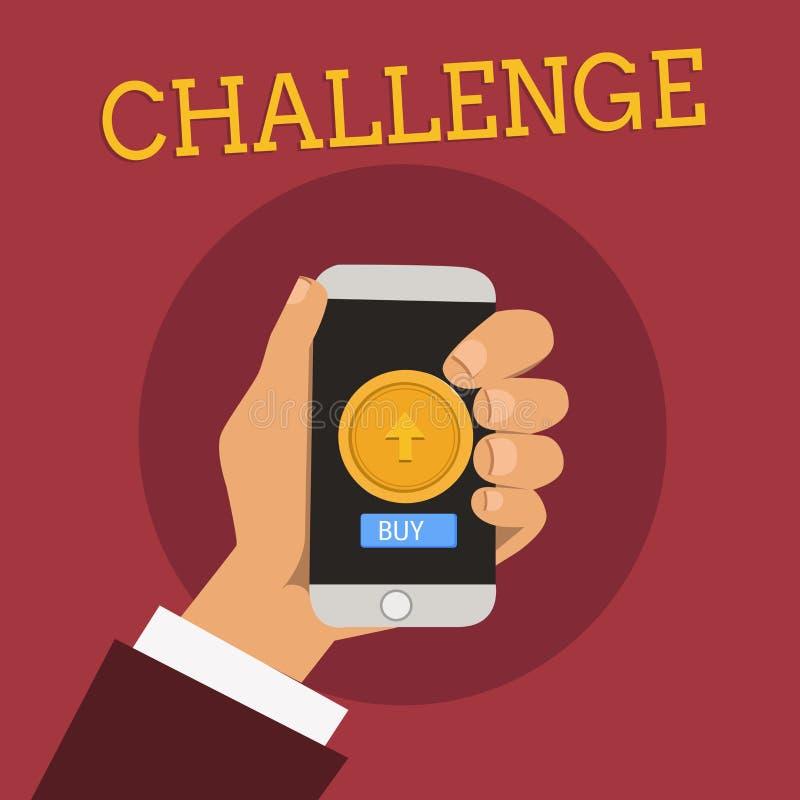 手写文本挑战 概念对参加的某人的意思电话竞争情况敲打男性胡 向量例证