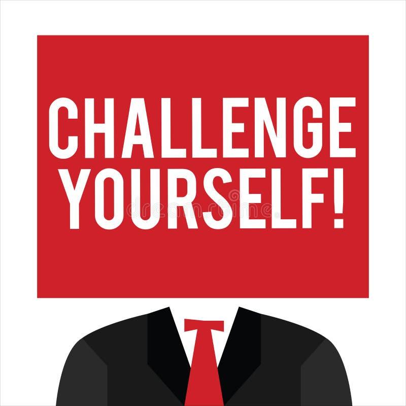 手写文本挑战  规定更高的标准的概念意思为不可能瞄准 库存例证