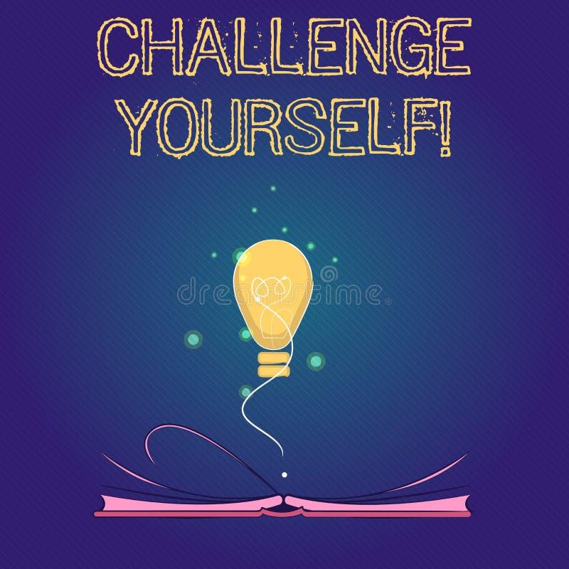 手写文本挑战  规定更高的标准的概念意思为不可能瞄准 向量例证