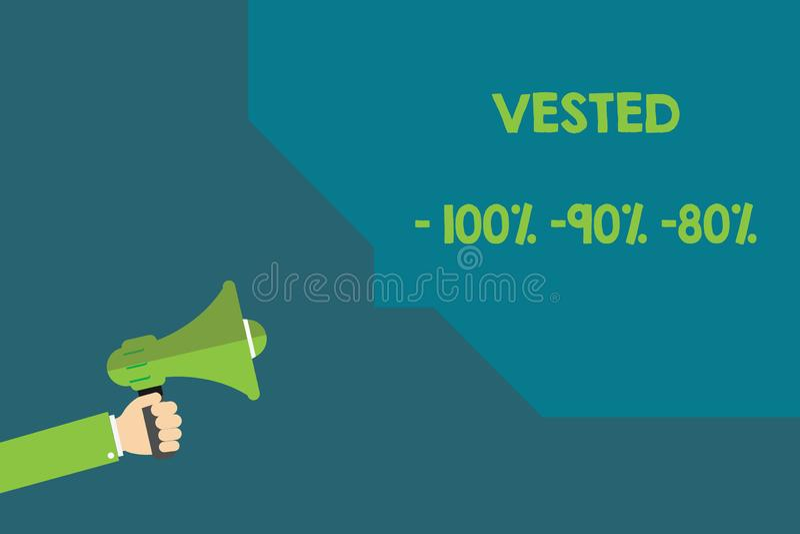 手写文本授予了100 90 80 概念意味有资袼根据工作年限的退休福利 库存例证