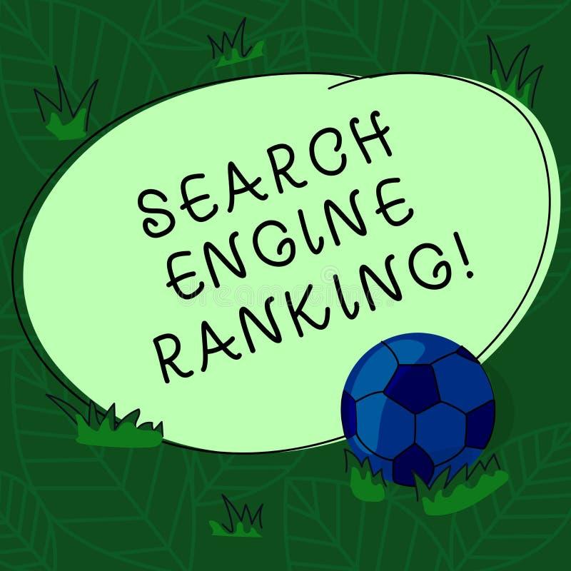 手写文本搜索引擎等级 概念站点出现于搜索引擎询问足球的意思等级 库存例证