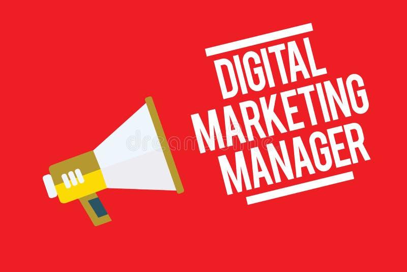 手写文本数字式销售经理 为张贴优选的概念意思在网上委员会或事业扩音机loudspeake 图库摄影