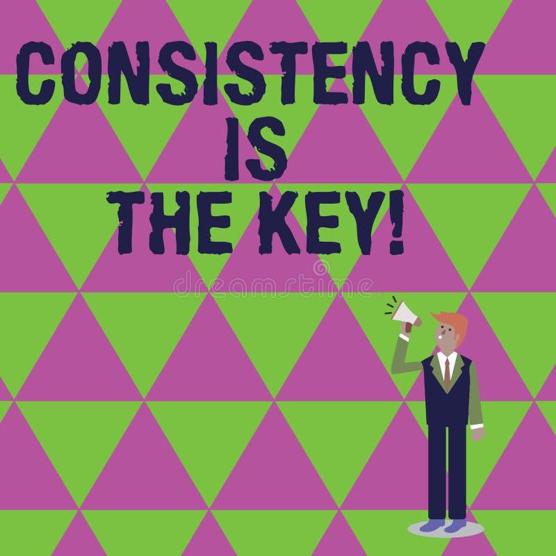 手写文本文字一贯性是钥匙 概念意思通过改变恶习和形成好那些 库存例证
