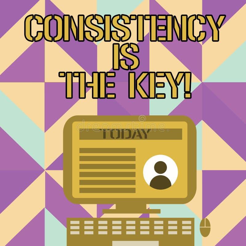 手写文本文字一贯性是钥匙 概念意思通过改变恶习和形成桌面好的那些 向量例证