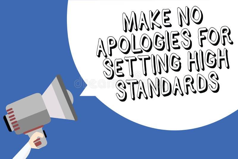 手写文本文字不做出为规定高标准的道歉 拿着我的概念意思寻找的质量生产力人 向量例证