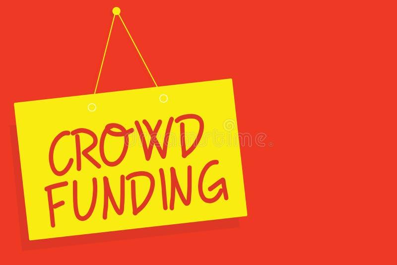 手写文本文字人群资助 概念意思筹款的Kickstarter起始的承诺平台捐赠染黄 皇族释放例证
