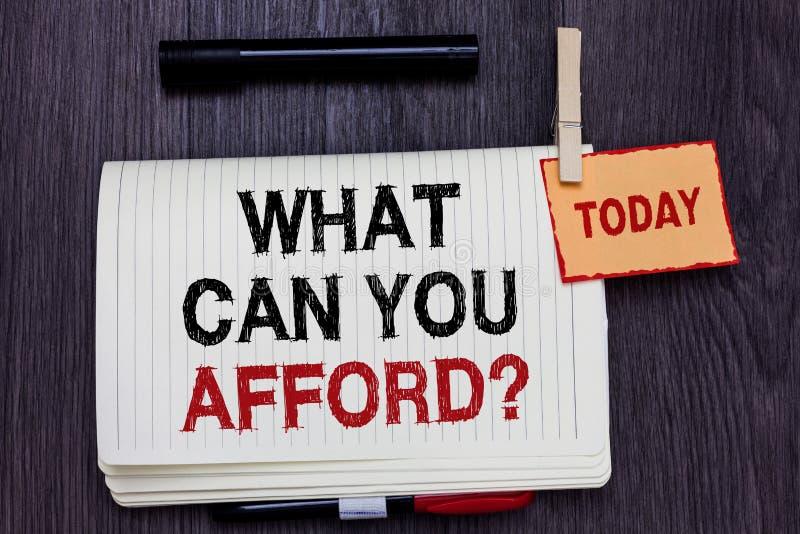 手写文本文字什么可能您买得起问题 概念意思给我们您的金钱书面纸的预算可及性  库存照片