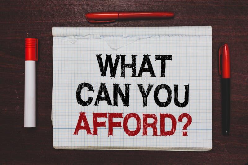 手写文本文字什么可能您买得起问题 概念意思给我们您的金钱书面黑色的预算可及性,关于 免版税库存照片