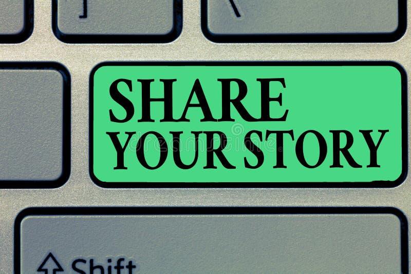 手写文本文字份额您的故事 概念意思要求某人对大约他自己写生活传记 免版税图库摄影