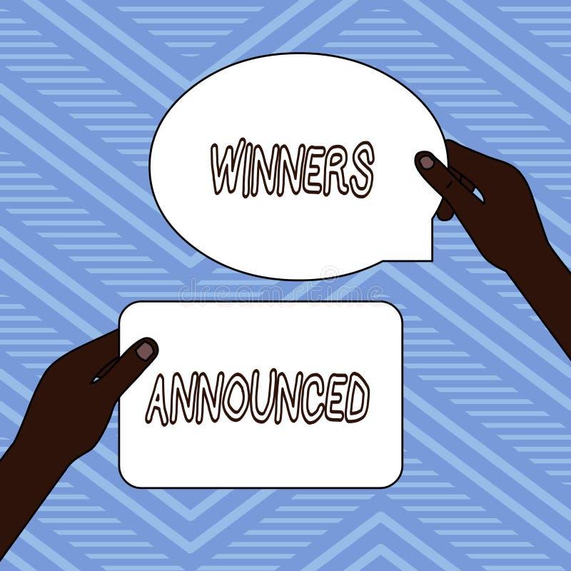 手写文本文字优胜者宣布了 意味赢得比赛或所有竞争两空白的宣布的概念 库存例证