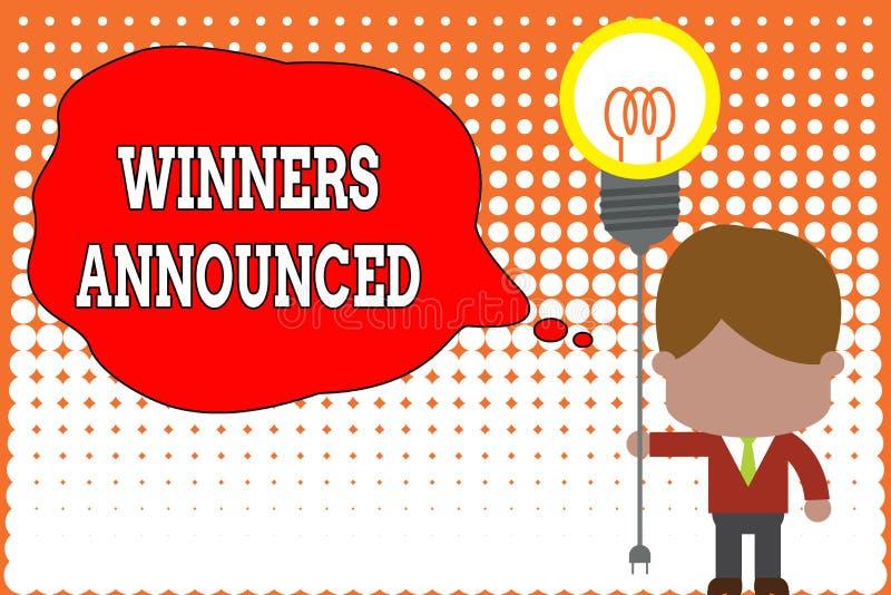 手写文本文字优胜者宣布了 概念赢得比赛或所有竞争站立的意思宣布 向量例证