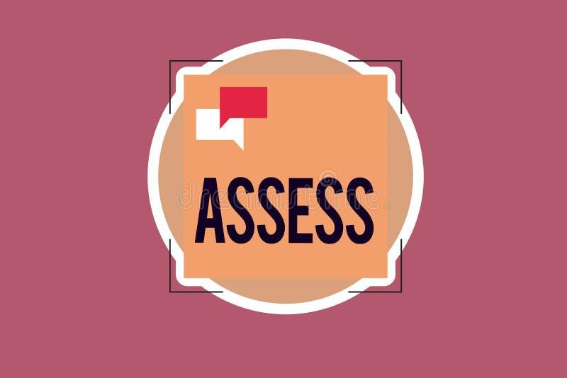 手写文本文字估计 概念意思评估或估计产品服务的自然能力质量 向量例证
