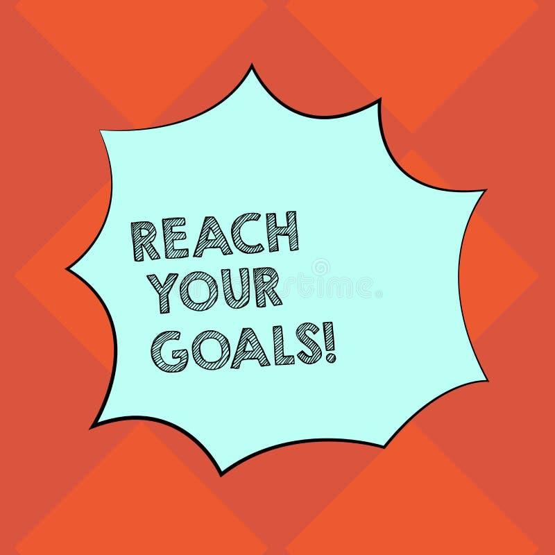 手写文本文字伸手可及的距离您的目标 概念意味达到什么您要是完成的梦想或做名单空白 库存例证