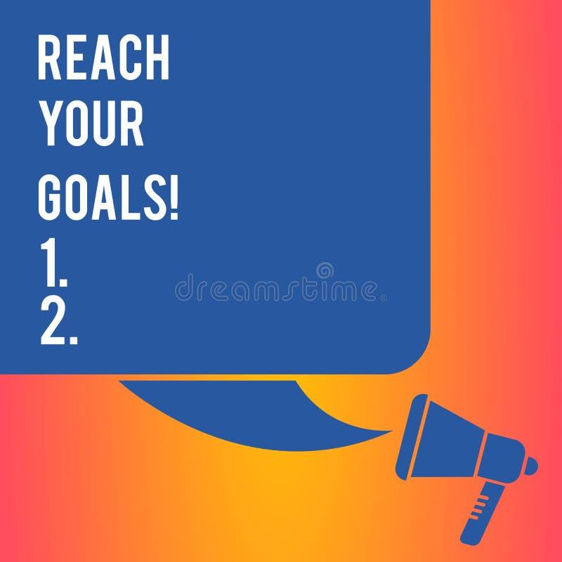 手写文本文字伸手可及的距离您的目标 概念意味达到什么您要是完成的梦想或做名单颜色 皇族释放例证