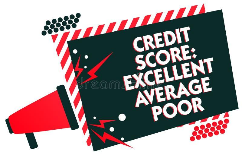 手写文本文字信用评分优秀一般的贫寒 概念creditworthness规定值报告扩音机卢霍的意思水平 库存例证
