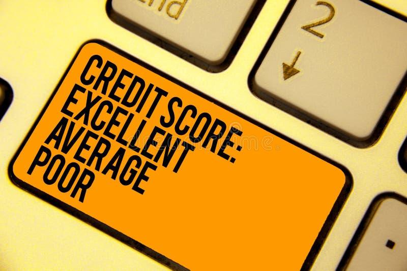 手写文本文字信用评分优秀一般的贫寒 概念creditworthness规定值报告键盘奥兰的意思水平 库存例证