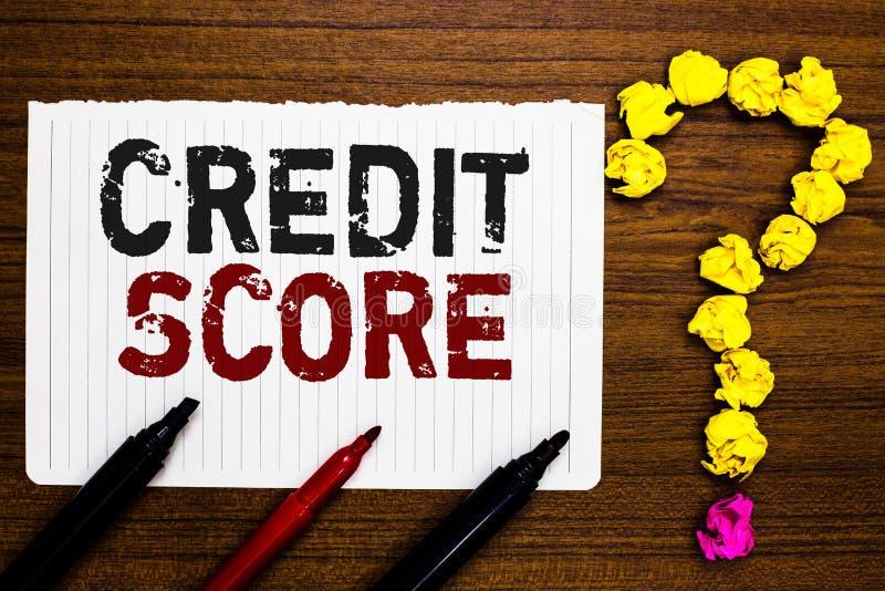 手写文本文字信用评分 概念意思代表一个单独Lenders规定值纸标志的信誉 皇族释放例证