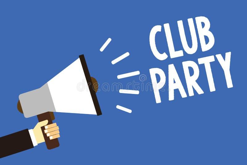 手写文本文字俱乐部党 意味社会汇聚的概念在是不拘形式的,并且可能有饮料人藏品的地方 库存例证